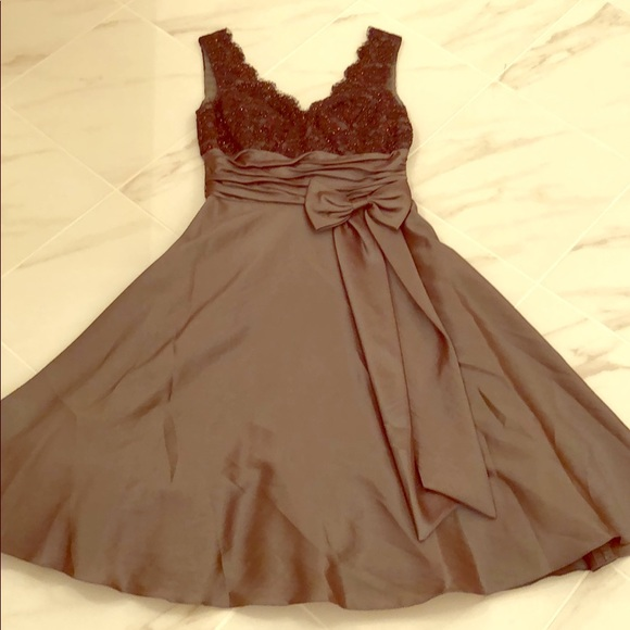 Boutique Dresses Olive Green Formal Dress With Brown Lace Top